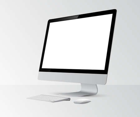 Computer display with blank white screen.Vector illustration.