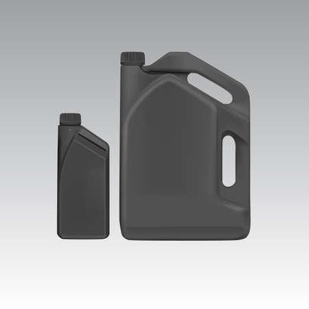 huile: Cartouche de plastique blanc pour l'huile � moteur, Vector eps10