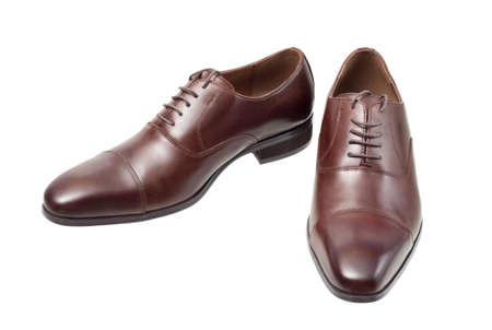 male fashion: Male fashion with brown leather shoes isolated on white background Stock Photo