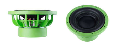 sub woofer: Modern speaker isolated on white background Stock Photo