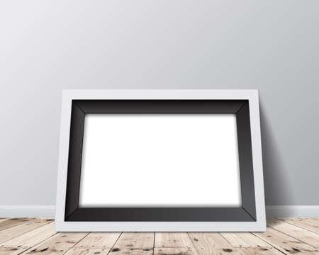 Blank horizontal frame on white wall background. Vector illustration