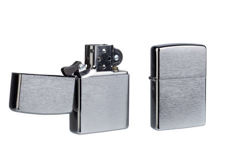 gas lighter: zippo lighter isolated on a white background. Stock Photo