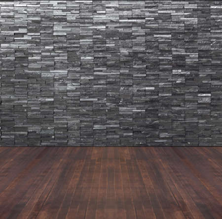 Empty Room Interior With Black Slate Wall And Wooden Floor Stock