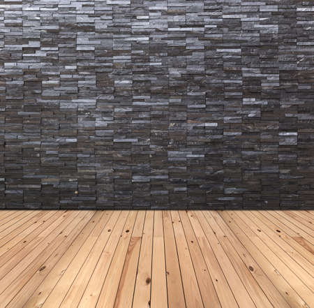 Empty Room Interior With Black Slate Wall And Wooden Floor Photo