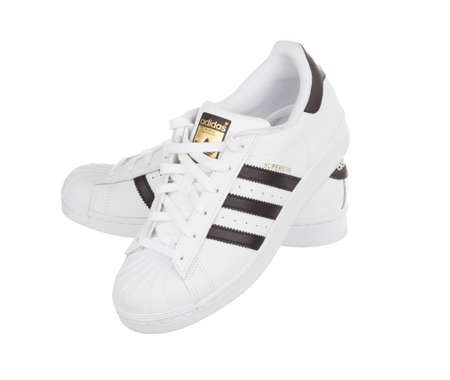 adidas: BANGKOK, THAILAND - June 25,2016: Adidas superstar shoes on white - illustrative editorial