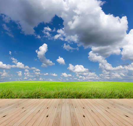 wooden floor on field with sky background