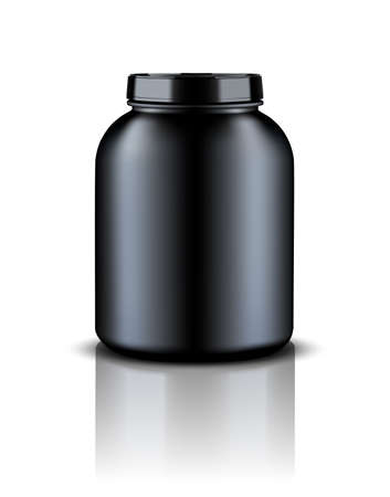 Black Plastic Jars,Vector illustration, Eps 10 Illustration