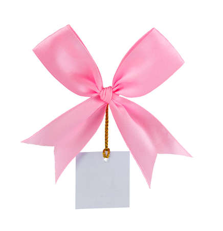 Satin gift bow and paper isolated Фото со стока