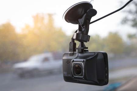 Dash cam on car windshield Archivio Fotografico