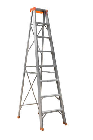 Old ladder isolated on white Stockfoto