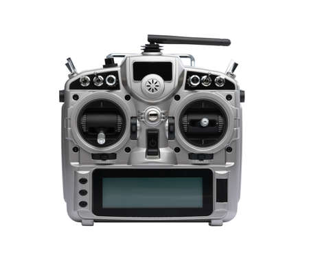 Remote control of FPV racing drone isolated on white background
