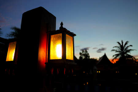 magic hour: Thai light lamp silhouette at sunset magic hour Stock Photo