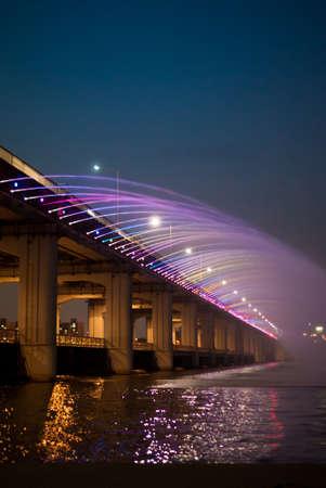 SEOUL, South Korea - MAY 7, 2012   A night view of Banpo Rainbow Bridge in Seoul, South Korea  The world Editorial