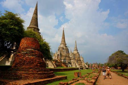 build in: Ayutthaya, Thailand - Aug 23, 2014 : Unidentified tourist visit Wat Phrasisanpetch in Ayutthaya, Thailand. Wat Phra Si Sanphet was build in 1499 by King Rama Thibodi II.