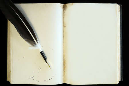 antique books: Old book blank page and feather pen