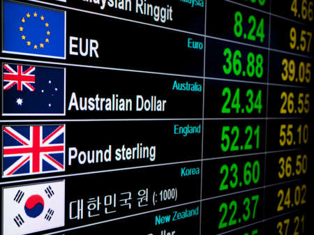 information international: currency exchange rate on digital LED display board