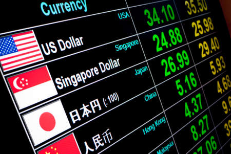 rates: currency exchange rate on digital LED display board