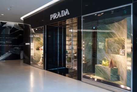 prada: Bangkok, Thailand - Sep 19, 2015 : Prada store at Central Embassy Shopping Mall. Prada Group has a total net sales of 792.3 millions EUR during 3rd quarter of 2014.