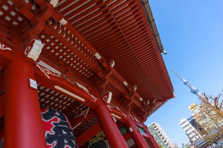 tele up: Tokyo, Japan - Mar 22, 2016 : Sensoji temple Asakusa with Tokyo sky tree tower. Tokyo sky tree is the tallest structure in Japan in 2010. Editorial