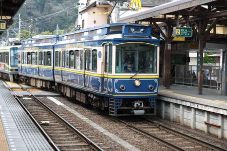 Kamakura, Japan - Mar 18, 2016 : Enoden Line in Kamakura. Enoshima Electric Railway, is a private railway in Japan which connects Kamakura Station in Kamakura with Fujisawa Station in Fujisawa, Kanagawa. Editorial