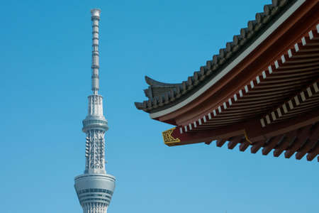 tele up: Tokyo, Japan - Mar 22, 2016 : Tokyo Sky Tree tower with blurry Sensoji temple japanese roof foreground. Tokyo sky tree is the tallest structure in Japan in 2010.