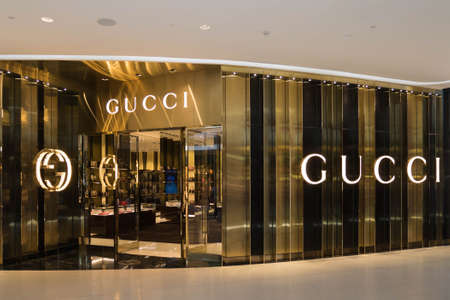 gucci store: Bangkok, Thailand - May 8, 2016 : GUCCI store at Central Embassy luxury shopping mall in downtown Bangkok. GUCCI is one of many luxury brands fashion company. Editorial