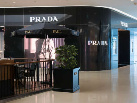 bakery store: Bangkok, Thailand - May 6, 2016 : Prada store and Paul bakery cafe at Central Embassy Shopping Mall in Bangkok, Thailand.