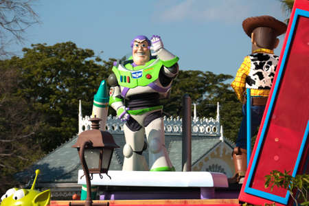 buzz: Tokyo, Japan - Mar 21, 2016 : Popular Cartoon Character Buzz Lightyear from Toy Story parade in Tokyo Disneyland.