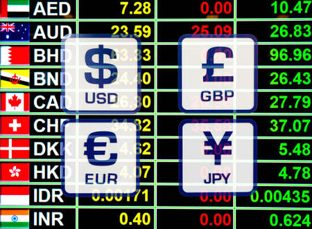 money exchange: currency exchange rate icons signs on digital display board for business money concept.