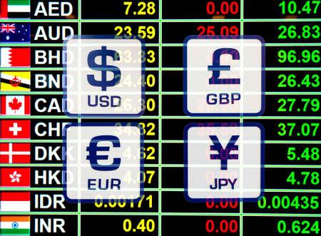 banco dinero: tasa de cambio de divisa iconos señales a bordo de pantalla digital para el concepto de dinero del negocio. Foto de archivo