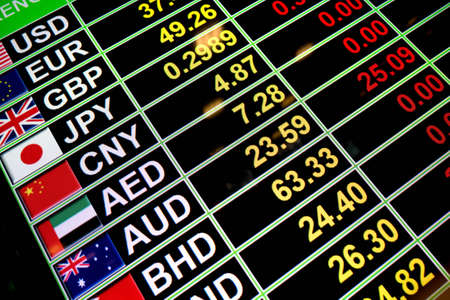 bahrain money: Exchange rate currency on digital board for business money concept
