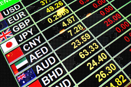 bahrain money: Exchange rate currency on digital board with world map dot on background for business money concept Stock Photo