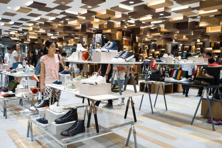 centres: Bangkok, Thailand - May 28, 2016 : Unidentified people visit Siam Discovery Grand reopening first day, it is a shopping mall in the centres of Bangkok, Thailand