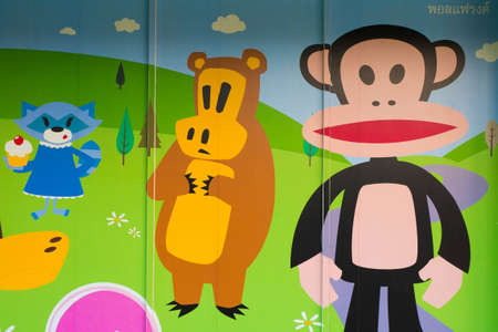 specializes: Nokorn Ratchasima, Thailand - Dec 13, 2015 : Paul Frank shop store painting decoration at The Premium Outlet mall in Nakorn Ratchasima, Thailand. A company founded in 1995, has stores worldwide and specializes in apparel, sporting goods, eye-wear and book