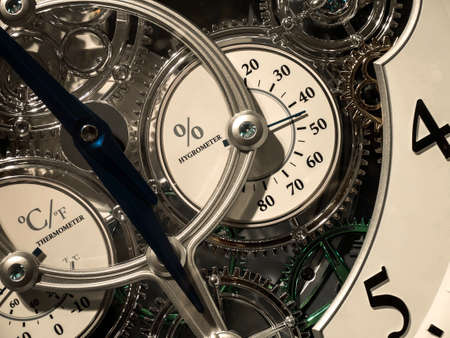 hygrometer: hygrometer, thermometer inside mechanic clockwork closeup