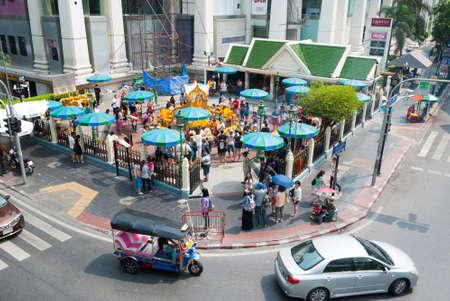 bombings: Bangkok,Thailand Oct 18, 2015 : Erawan Shrine after the bombings attack one month later at Ratchaprasong Skywalk Bangkok,Thailand