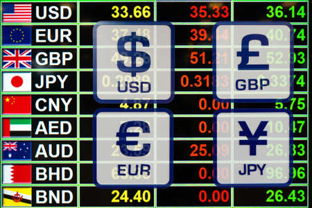 bahrain money: currency exchange rate icons signs on digital display board for business money concept.