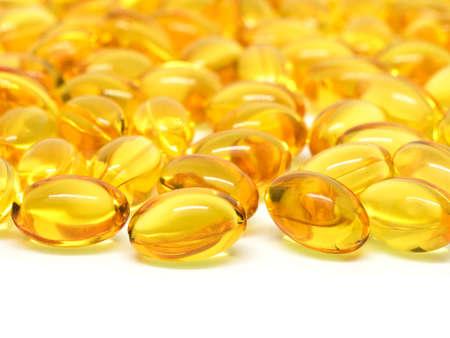 Omega 3 soft gel capsules on white background Stock Photo - 58988251