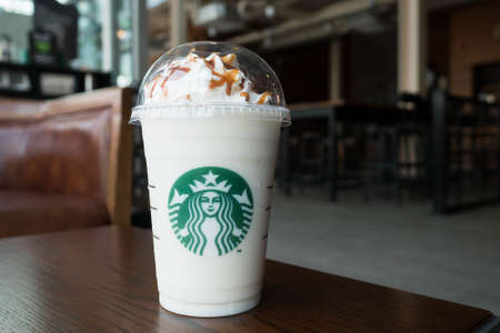 Bangkok, Thailand - Jan 29, 2017 : A cup of Starbuck Coffee Beverages. Chestnut white chocolate truffle frappuccino. Editorial