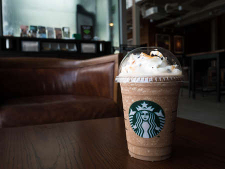 Bangkok, Thailand - Feb 27, 2017 : A cup of Starbuck Coffee Beverages. Salted Caramel Mocha Crumble frappuccino.