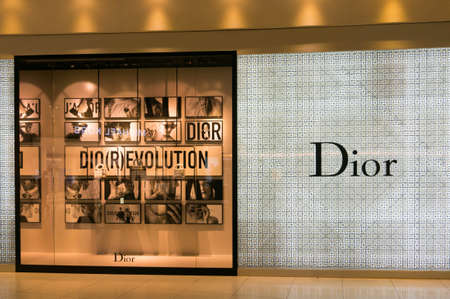 chaired: Bangkok, Thailand - Mar 3, 2017 :  Dior store in Suvarnabhumi International Airport, Bangkok, Thailand. Dior is a French company controlled and chaired by Bernard Arnault.