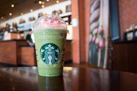 Bangkok, Thailand - April 12, 2017 : A cup of Starbucks Coffee Beverages. Green Tea Strawberry Blossom Frappuccino. Editorial