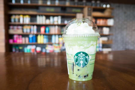 Bangkok, Thailand - June 28, 2017 : A cup of Starbucks Green tea Matcha frappuccino with earl grey jelly at Starbucks coffee shop in Bangkok, Thailand.