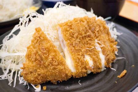 Cheese pork cutlet (Cheese Tonkatsu) Japanese dish