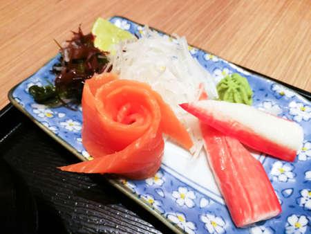 Salmon and Crab stick (imitation crab meat) sashimi, Japanese dish