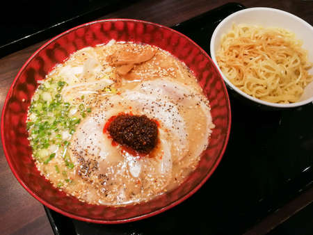 Japanese noodle ramen with special chilli paste. Stock Photo