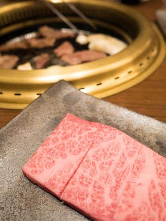 Hida Kobe Matsusaka Premium Beef wagyu at Yakiniku beef grill restaurant in Japan Imagens