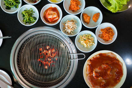 Korean pickled vegetables at Korean barbecue restaurant