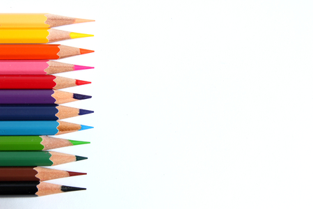 Color pencil placed on white background