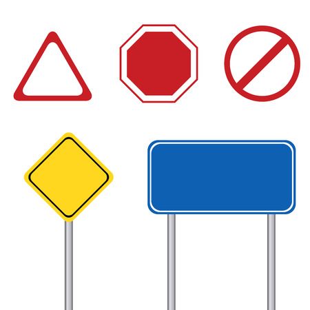 blank road sign: Blank road sign with pole